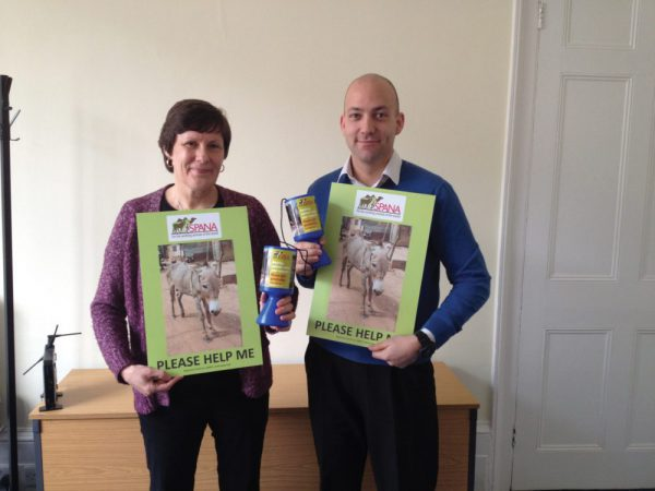 SPANA fundraisers with collection tins and placards