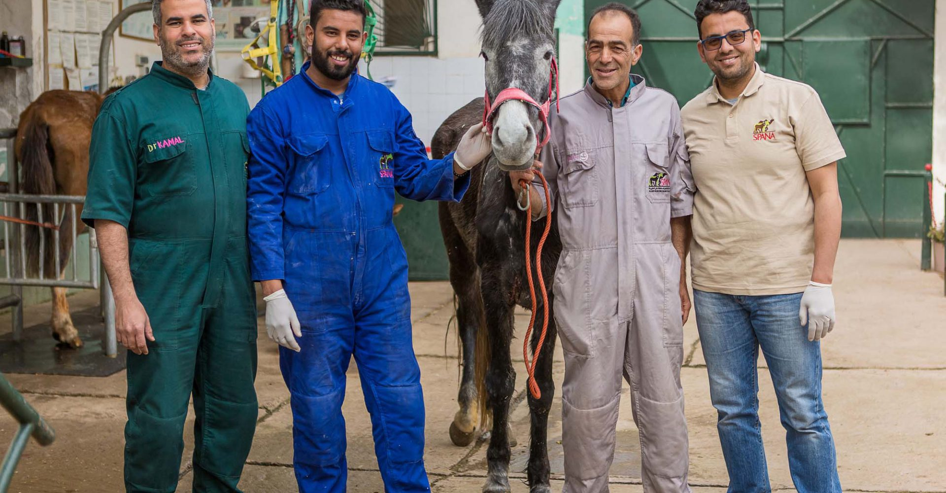 Four men standing with horse