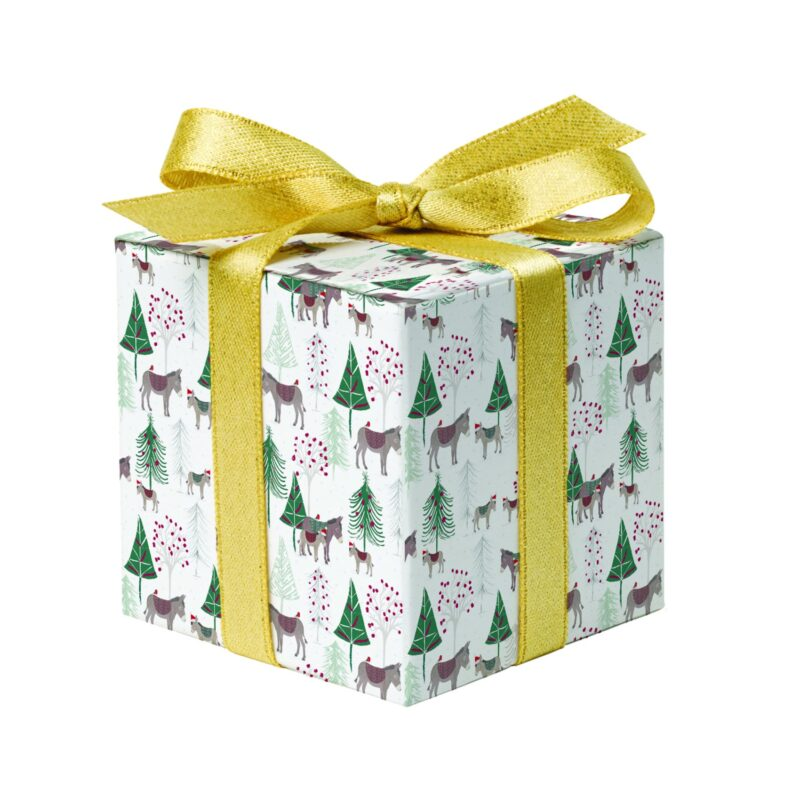 Donkey gift wrap, wrapped around box with ribbon