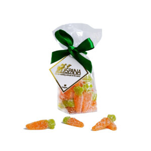 Orange carrot shaped jelly sweets in packaging with green bow